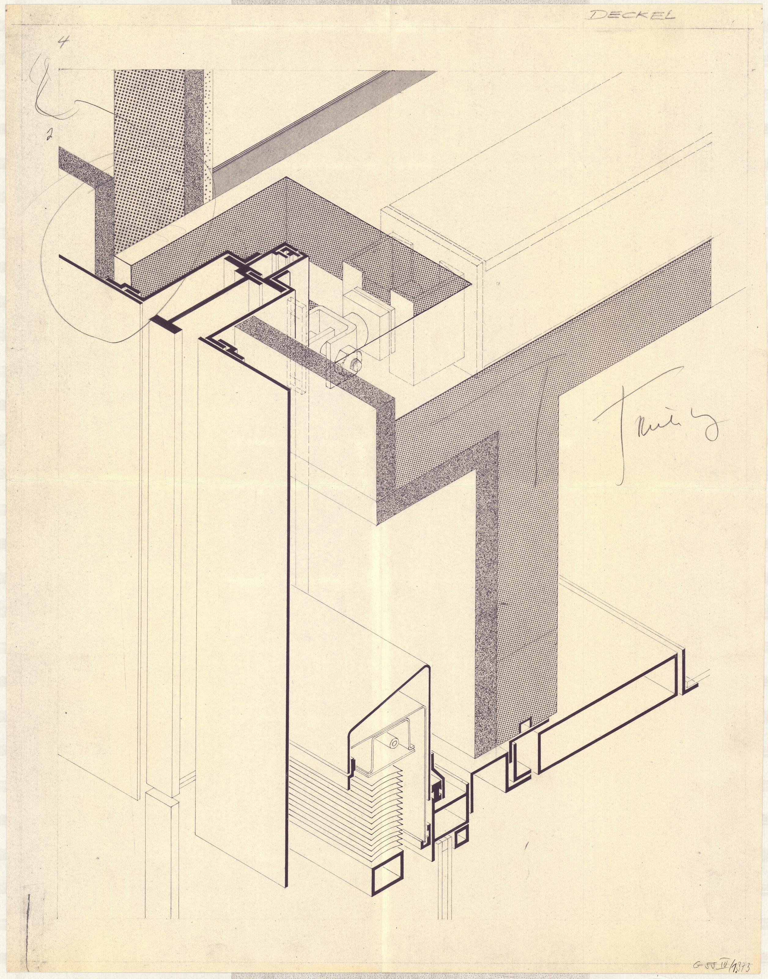 Henn G055 IV1 373 Isometrieeiner Fassadenkonstruktion Deckel Muenchen
