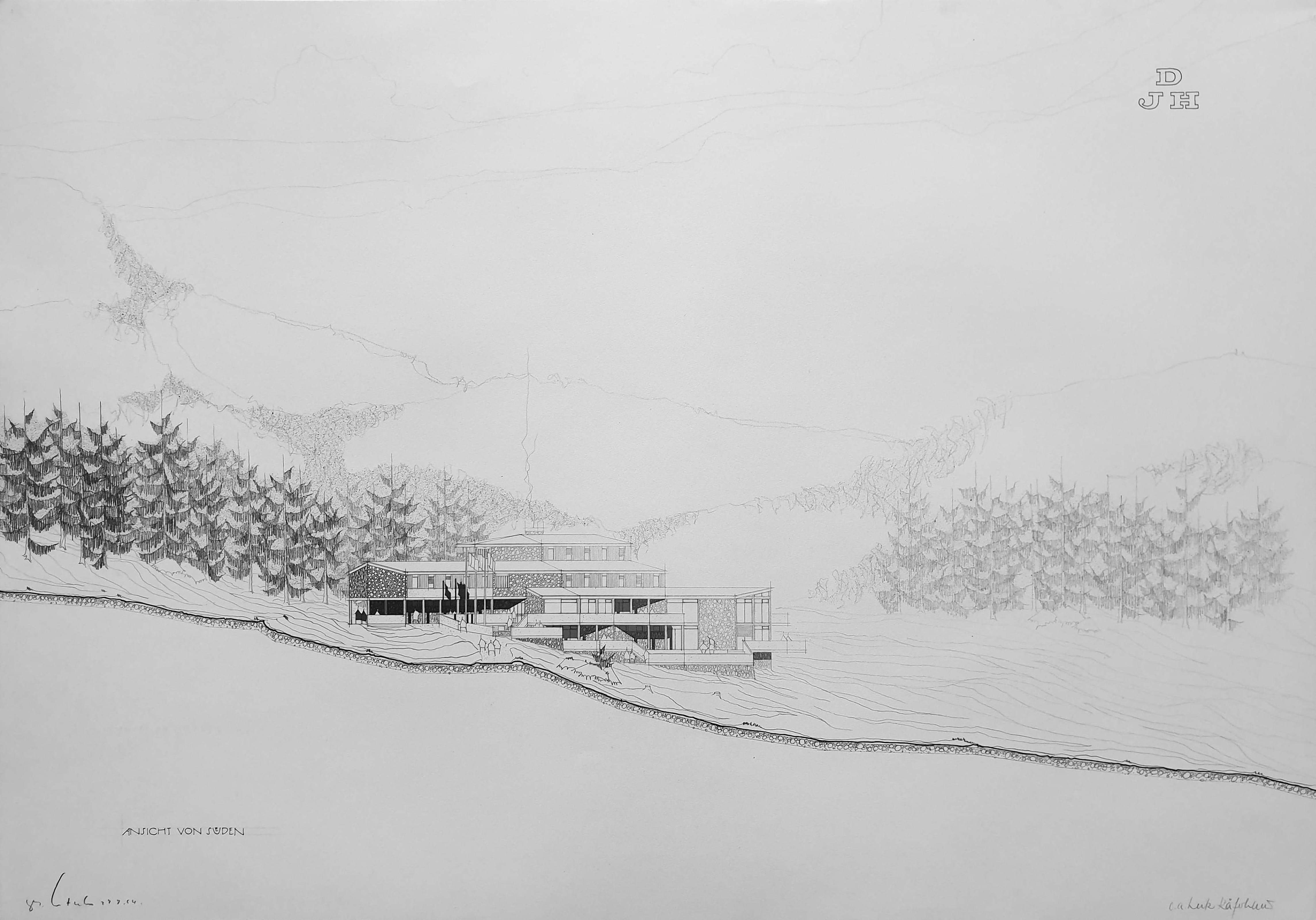 Kaeferhaus Lutz Jugendherberge Ansicht S Oesterlen 1964