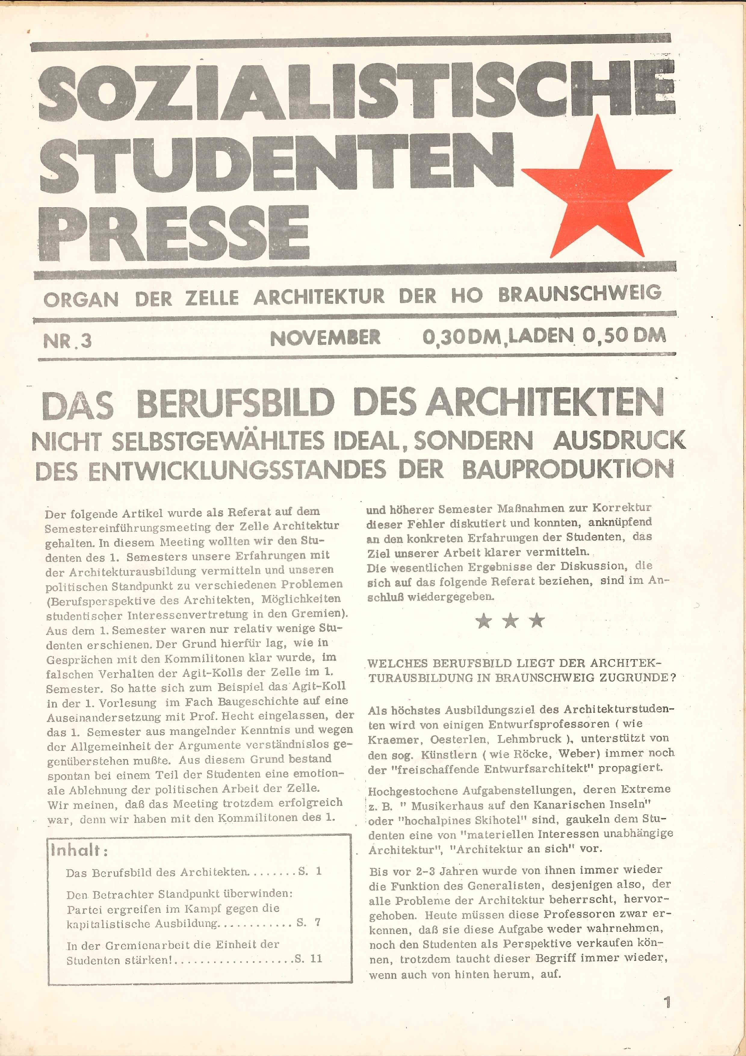 SAIB G74 III 3 Sozialistische Studenten Presse Page 1